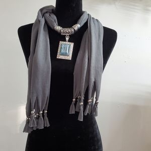 Scarf necklace with gorgeous jewel pendant